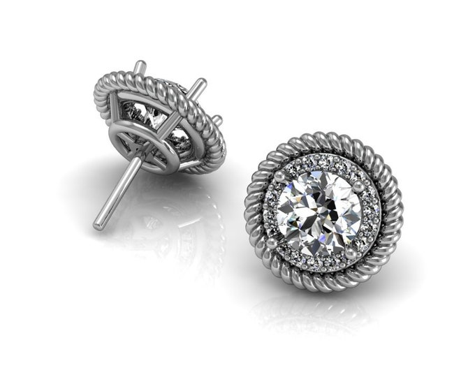 14k White Gold Stud Earrings with Moissanite and Diamond Item # LAFW-000-X-155