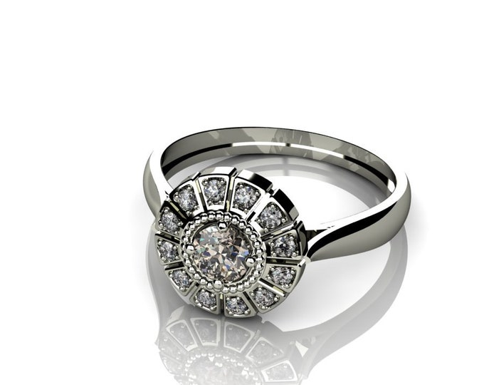 18k White Gold Classic Engagement or Wedding Ring with Diamond Item # LARFW-00835