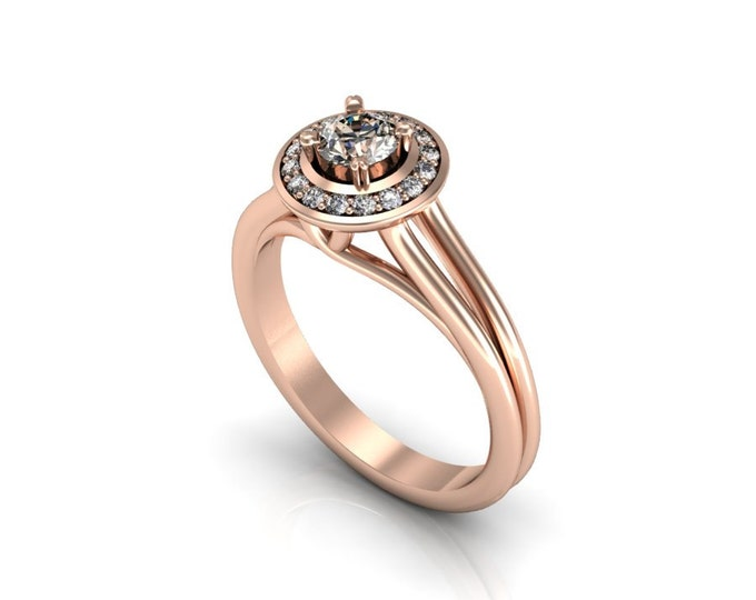 14k Rose Gold Classic Engagement or Wedding Ring with Champagne-Diamond Item # LARFW 00861