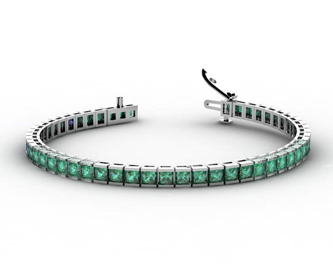 14k White Gold Tennis Bracelets with Emerald Item # BFW-000-X-66