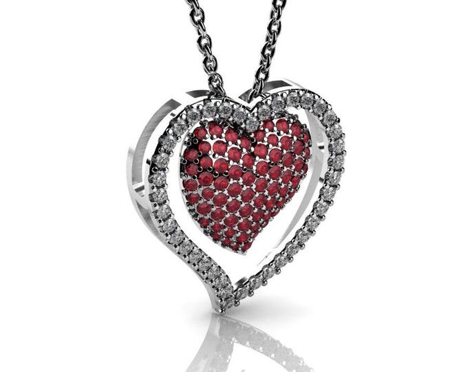 14 k White Gold Heart Pendants with 18 In Chain,Diamond  and  Ruby Item # PFW-000-X-82