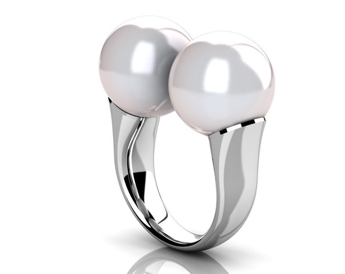 14k White Gold Classic Engagement or Wedding Ring with Cultured White Pearl Item # RFW-000-X-352