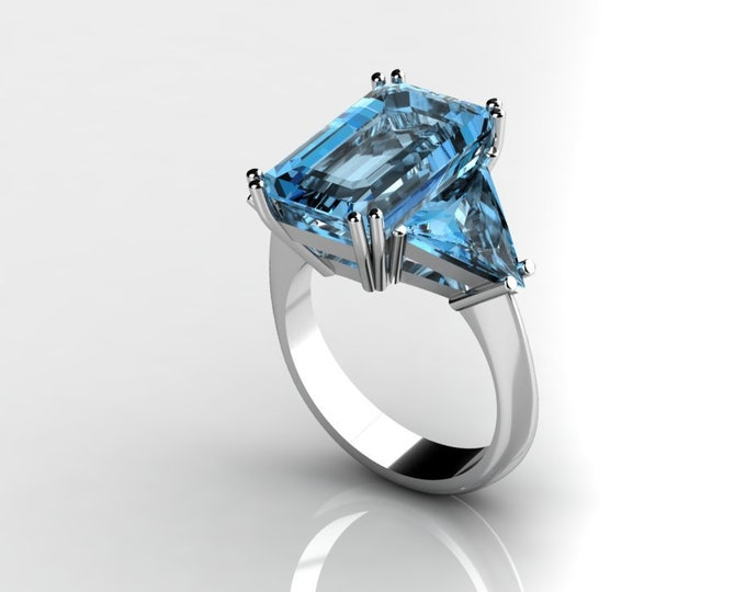 14k White Gold Classic Engagement or Wedding Ring with Blue Topaz Item # RFW000-X-276