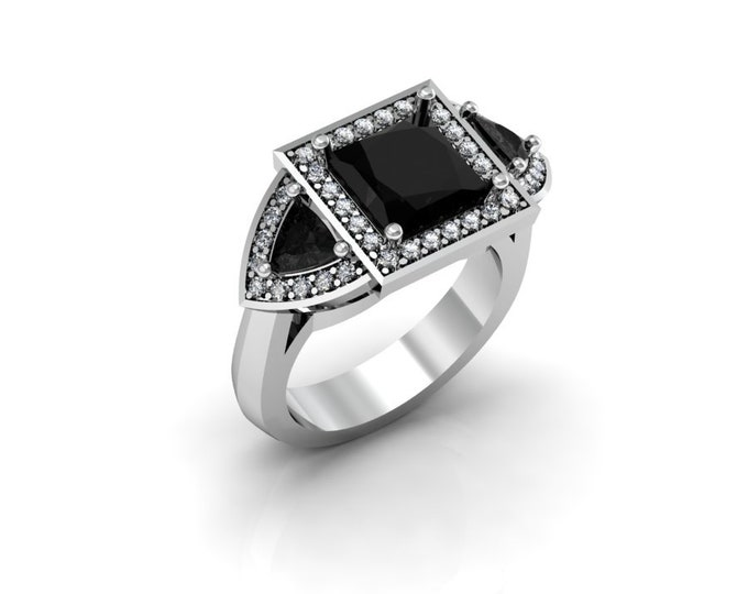 14k White Gold Wedding or Engagement Rind with Diamond and Black Diamond Item # LAFW-000-X-178