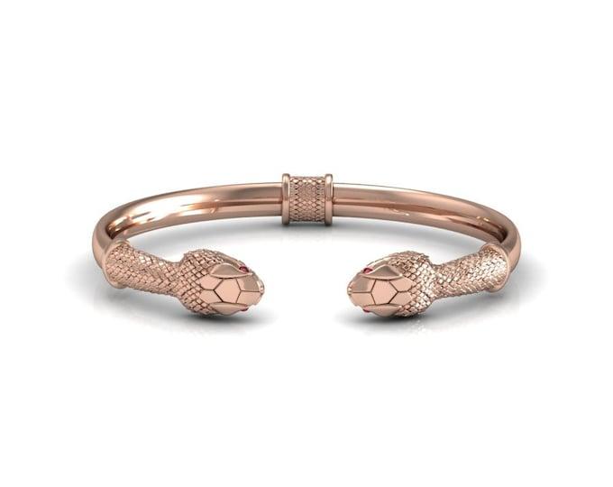 SNAKE-14K Rose Gold with Ruby Bangles Bracelets  Item # BFW-000-X-386