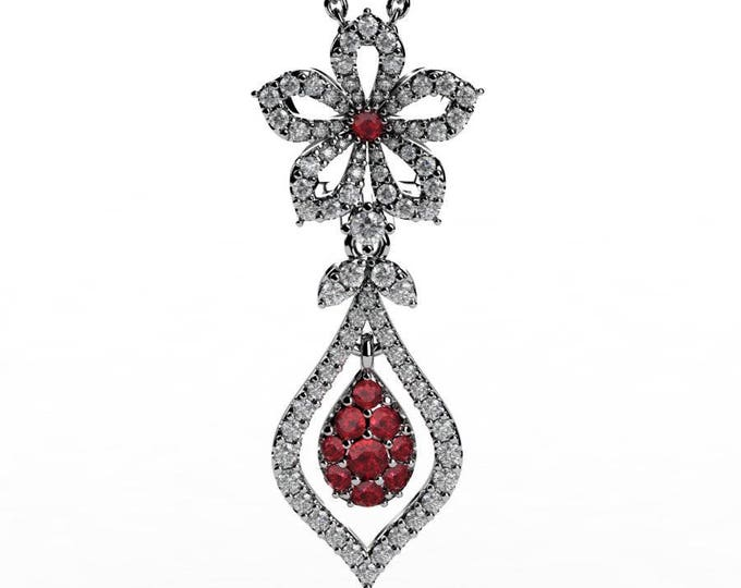 14k White Gold Pendants with 18 Inch Chain, Diamond, and Ruby Item # PFW-000-X-55