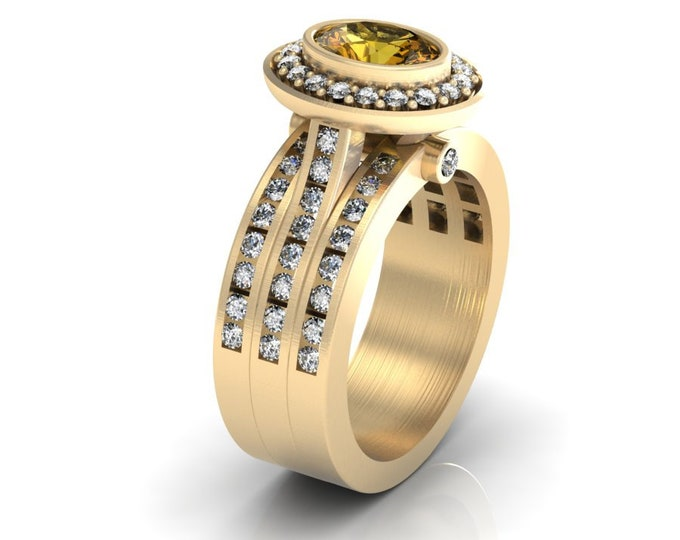 14k Yellow Gold Wedding or Engagement Ring with Citrine and Diamond Item # LAFW-000-X-310