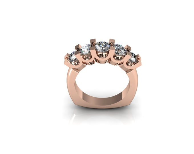 14k Rose Gold Engagement or Wedding Ring wite Moissanite Item # LAFW-000-X-129