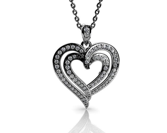 14k White Gold Heart Pendants with 18 In Chain,and Diamond Item # PFW-000-x-87
