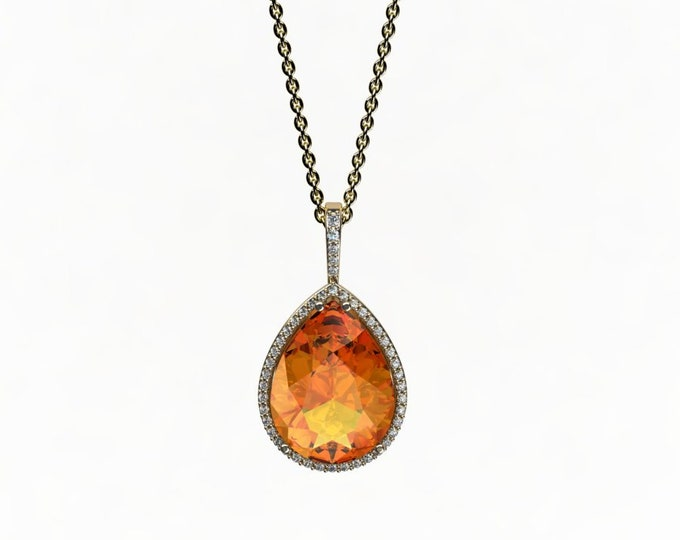 14k Yellow Gold  Pendant with 18-inch Yellow Gold Chain,Yellow Citrine and Diamond Item # LAFW-000-X-232