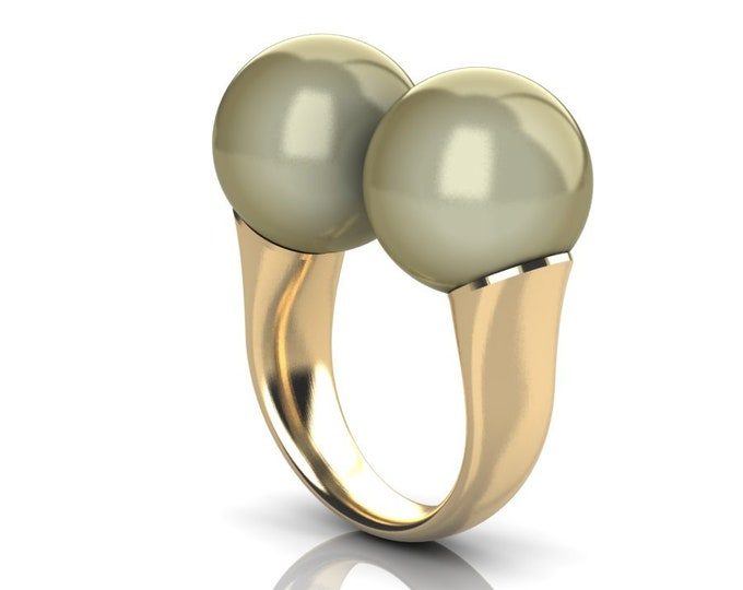 14k Yellow Gold Classic Engagement or Wedding Ring with South Seas Golden Pearl Item # RFW-000-X-351