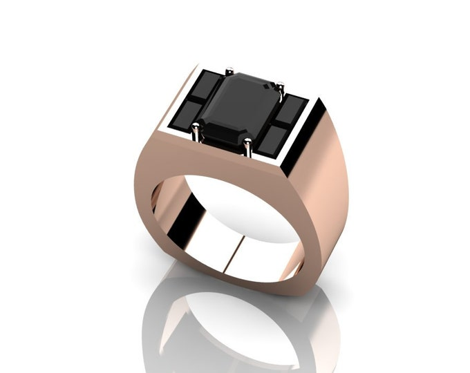 14k Rose Gold Engagement or Wedding Ring for Men with Black Diamond Item # RFMOOO-X-263