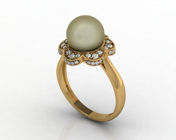 18k Yellow Gold Classic Engagement or Wedding Ring with Diamond and Pearl Item # RFW-000-X8