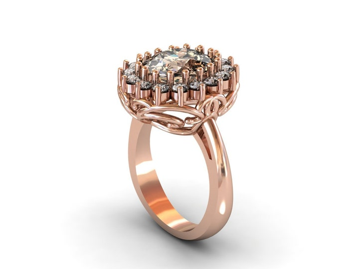 14k Rose Gold Classic Engagement or Wedding Ring with Diamond and Morganite Item # LARFW -00740
