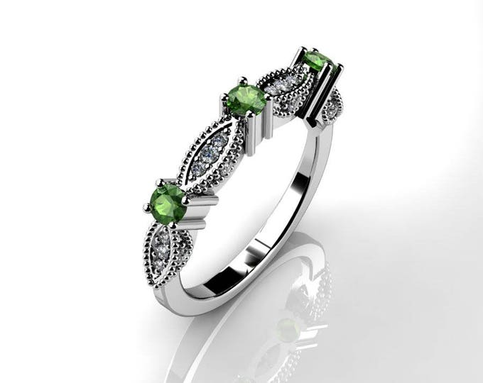 14k White Gold Classic Engagement or Wedding Ring  with Diamond and Emerald Item # RFM-000-X-76