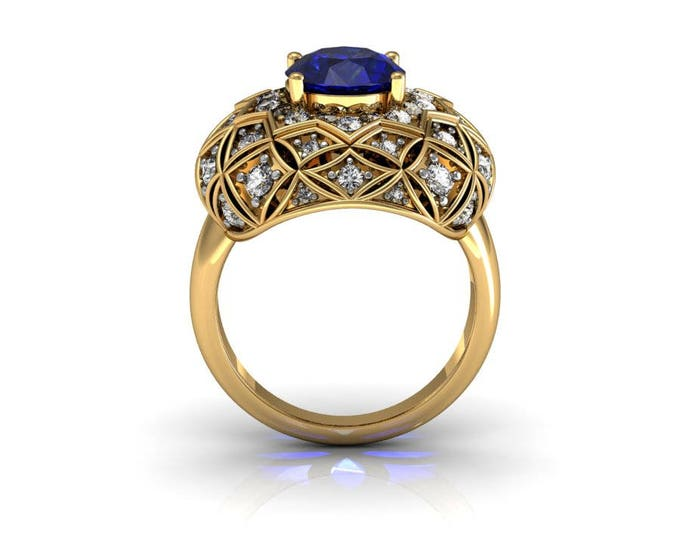 14k Yellow Gold Classic Engagement or Wedding Ring with Diamond and Blue Sapphire Item # RFW-000-X-48