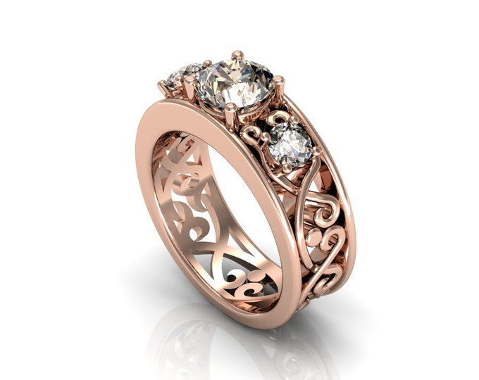 14k Rose Gold Wedding or Engagement Ring with Morganite Item # LAFW-000-X-357