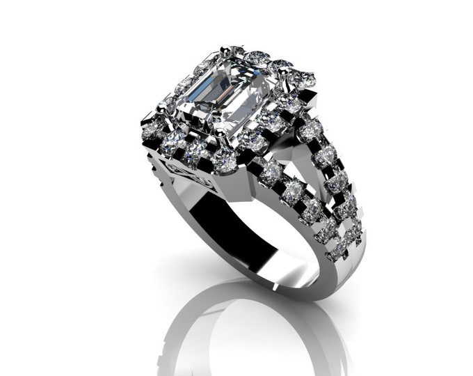 14k White Gold Wedding or Engagement Ring with Moissanite and Diamond Item # LAFW-000-X-305