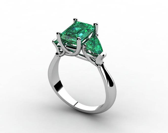 18k White Gold Classic Engagement or Wedding Ring with Emerald Item  #  RFW-000-X-17