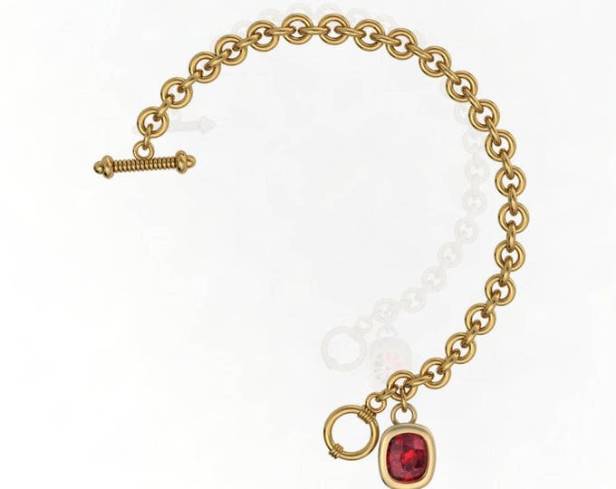 14k Yellow  Gold Chain and Link  Bracelets  with Ruby Item # BFW-000-X4