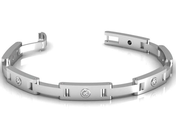 14k WhiteGold Chain and Link Bracelets with Diamond Item # BFW-000-X-60