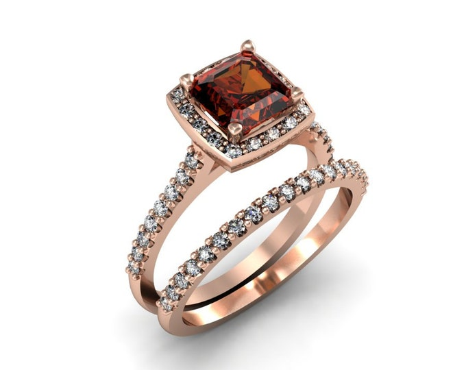 Elegant 14k Rose Gold Classic Engagement or Wedding Ring with Diamond and Garnet Item # LARFW-00853