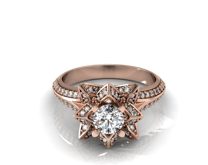 STAR - 18k Rose Gold Classic Engagement or Wedding Ring with  Diamond and moissanite Item # LARFW-000-X-103