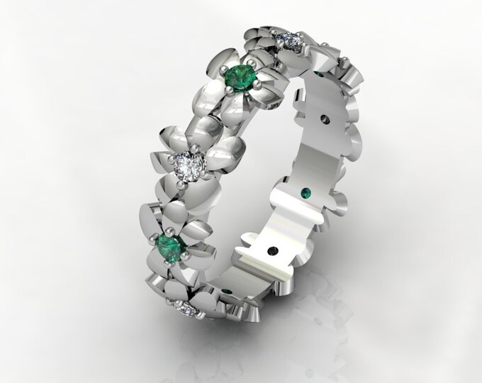 14k White Gold Classic Engagement or wedding Ring with Diamond and Emerald Item # RFW000-X-296
