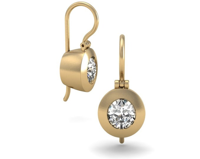 14k Yellow Gold Classic Shandelier Earrings with Moissanite Item # LAFW-000-X-151