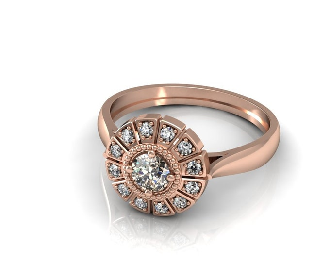 14k Rose Gold Classic Engagement or Wedding Ring with Brown Champagne Diamond Item # LARFW 00837