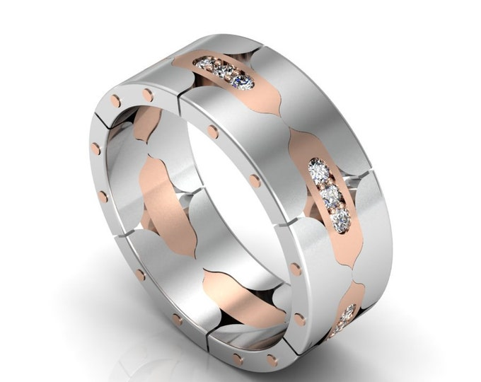 14k Rose and White Gold Classic Engagement or Wedding Band with Diamond Item # LARFW-00844
