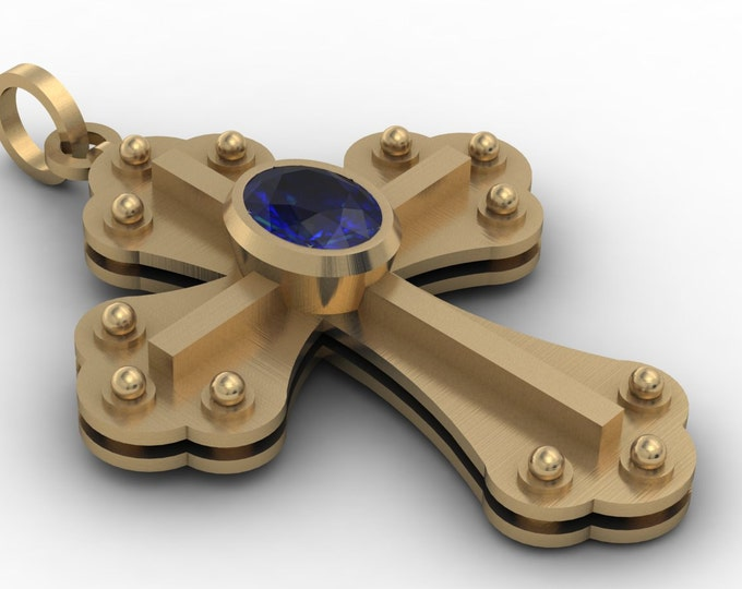Cross Pendants -14k Yellow Gold Classic Vintage Style with  Blue  Sapphire  Item #;PFW- 00421