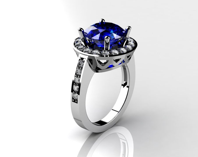 14k White Gold Classic Engagement or Wedding Ring with Diamond and Blue Sapphire Item # LARFW -00680