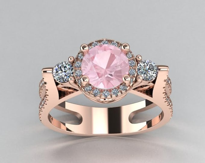 14k Rose Gold Classic Engagement or Wedding Ring with Diamond and Morganite Item # LARFW-00749