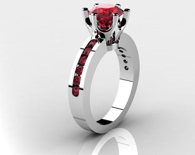 14k White Gold Wedding or Engagement Ring with Lab Created Ruby Item # LAFW-000-X-344