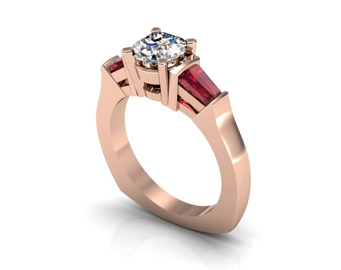 14k Rose Gold Wedding or Engagement Ring with Ruby and Moissanite Item # LAFW-000-X-205