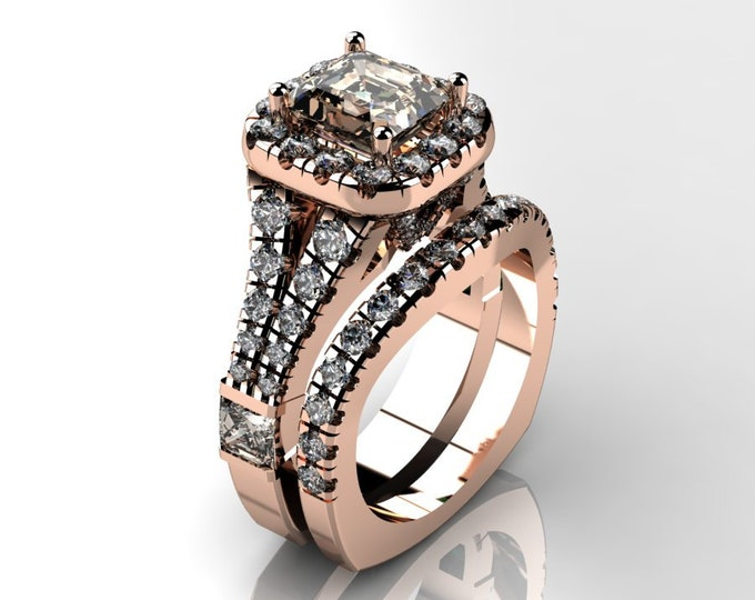 14k Rose Gold Wedding or Engagement Ring with Morganite and Diamond Item # LAFW-000-X-313