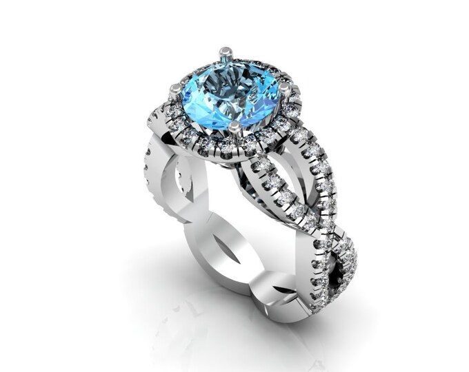 14k White Gold Wedding or Engagement Ring with Diamond and Aquamarine Item # LAFW-000-X-221