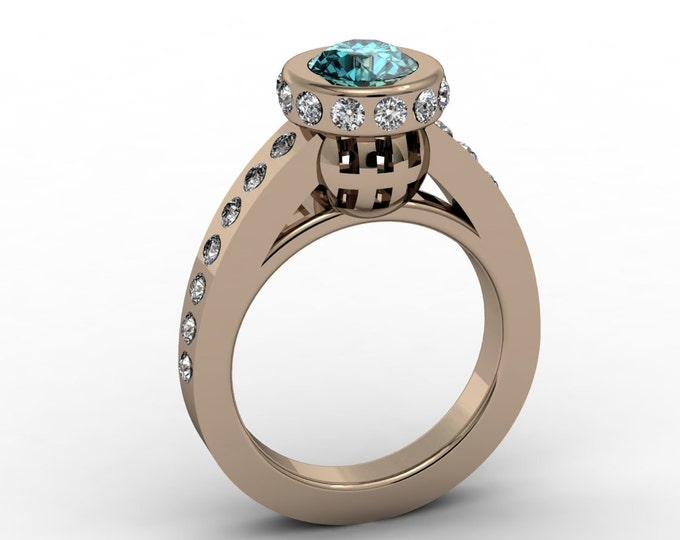 Lighthouse - 14k Rose Gold Classic Engagement or Wedding Ring with Aquamarine and Diamonds (Item#: LAWR-0030)