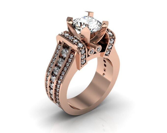 KING-14k Rose Gold Classic Wedding or Engagement Ring with Diamond and Moissanite Item # LAFW-000-X-173