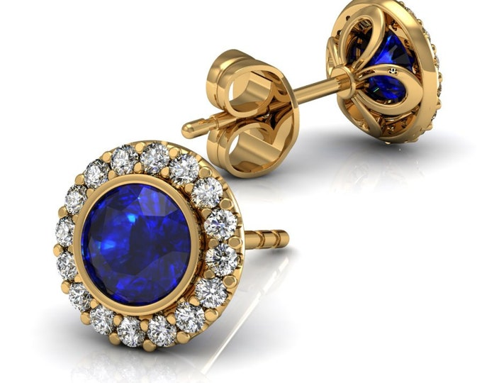 18k Yellow gold -Stud Earrings with Diamond and London Blue Topaz Item # LAEFW-00804