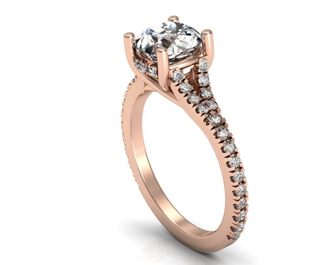 14k Rose Gold Wedding or Engagement Ring with Diamond and Moissanite Item # LAFW-000-X-218