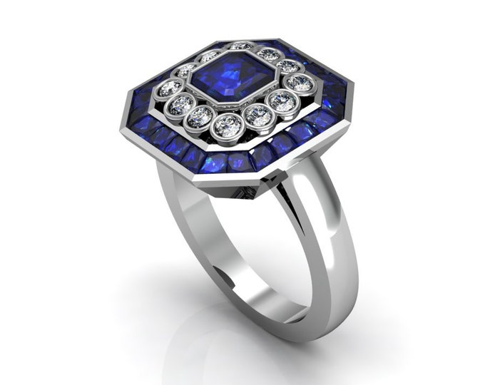 14k White Gold Classic Engagement or Wedding Ring with Blue Sapphire and Diamond Item # RFW000-X-277