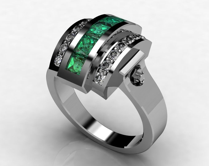 Trojan -18k White Gold Classic  Engagement or Wedding Ring with Emerald and Diamond Item # LAWR -00581
