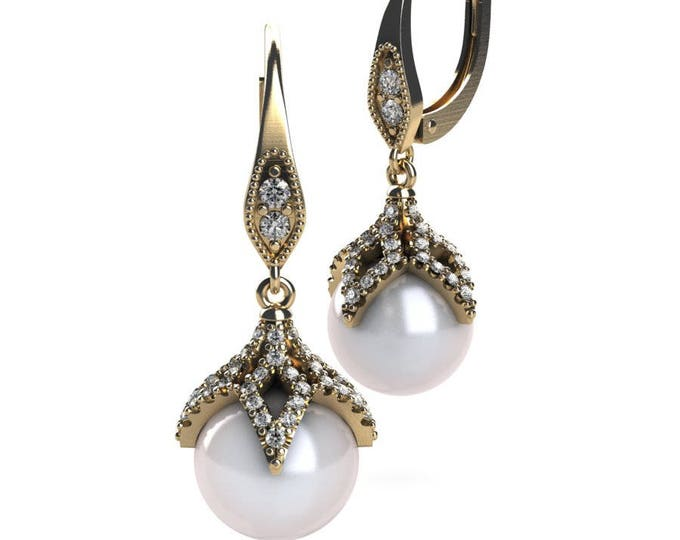 14k Yellow Gold Earring with , Diamond and Cultured White Peral Item # PFW-000-X-68