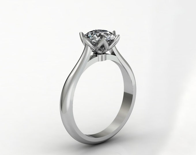 14k White Gold Classic Engagement or Wedding Ring with Moissanite Item # LARFW 00677