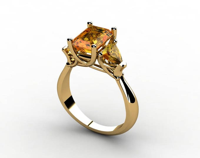 18k Yellow Gold Classic Engagement or Wedding Ring with Yellow Citrine Item # RFW-000-X-13