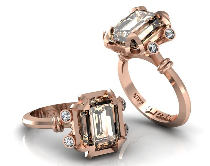 MIRAGE- 14K Rose Gold Classic Engagement or Wedding Ring with Diamond and Morganite Item: RFW -00273