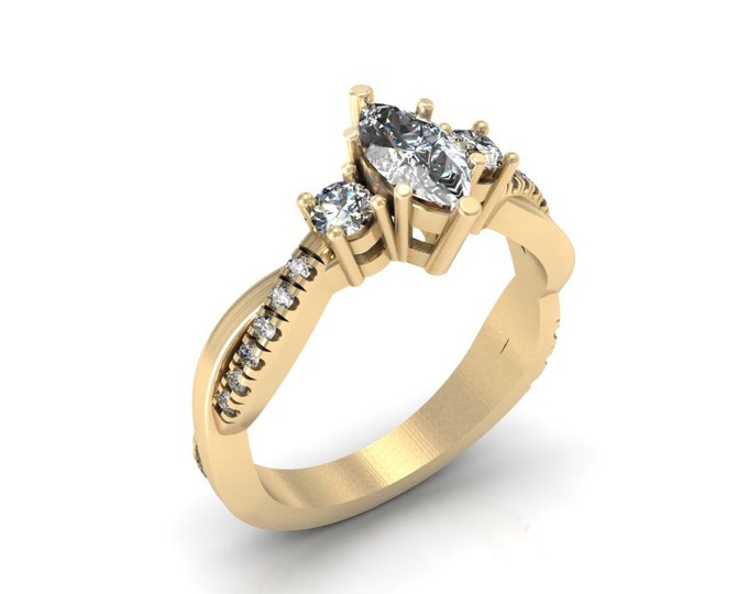 14k Yellow Gold Engagement or Wedding Ring with Diamond and Moissanite Item # LAFW-000-X-145