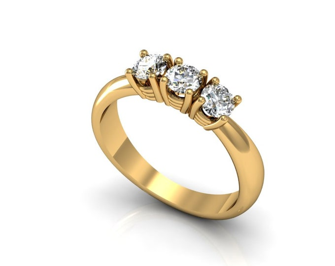 18k Yellow Gold Classic Engagement or Wedding Ring with Diamond Item # LARFW -00823